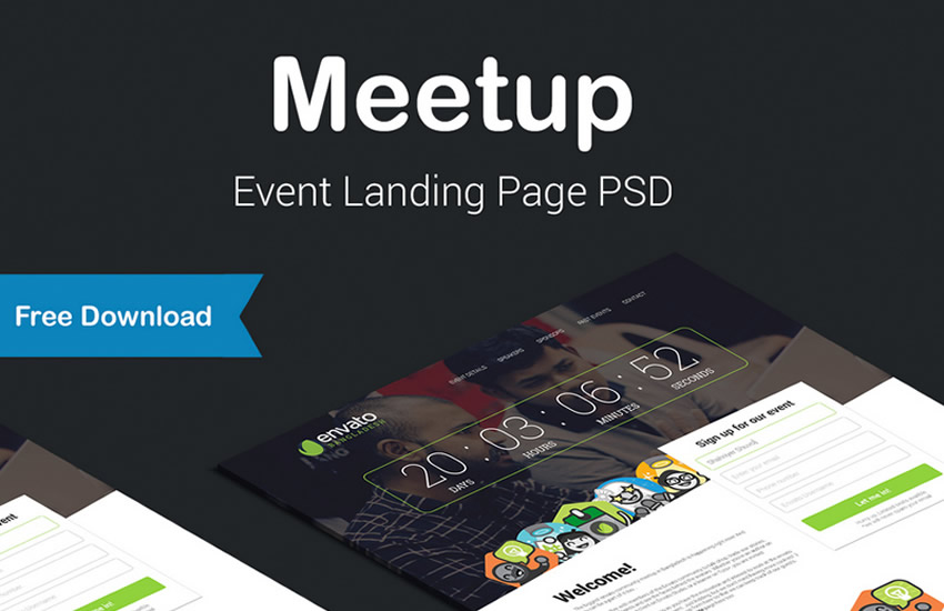 Meetup Event Landing Səhifə veb dizayn adobe dizayn fotoshop şablon pulsuz psd formatında