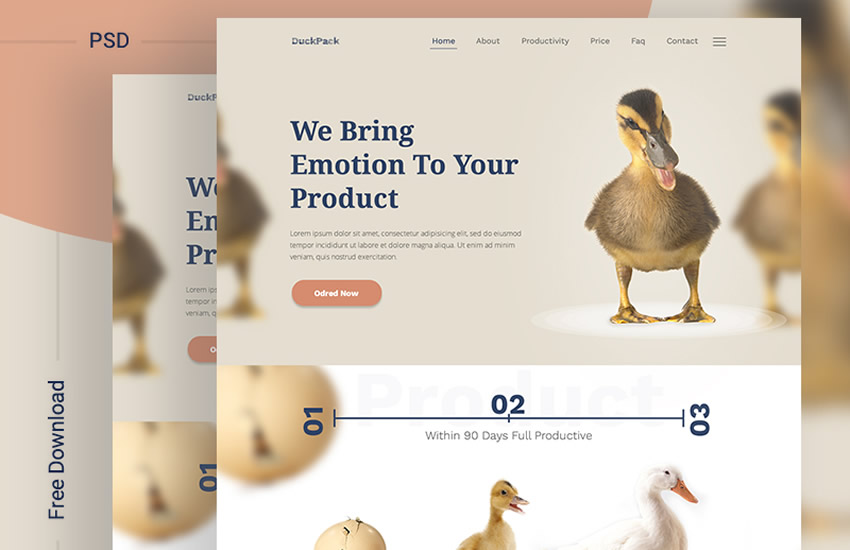 DuckPack Landing Page Web Design Layout Adobe Photoshop Template Free PSD Format
