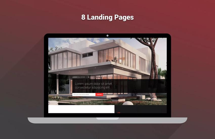 Lander Mehrzweck Landing Page Webdesign Adobe Design Photoshop Vorlage kostenlos PSD-Format