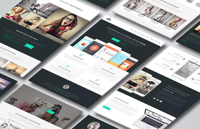 Prestige Landing Page Webdesign Adobe Design Photoshop Vorlage kostenlos PSD-Format