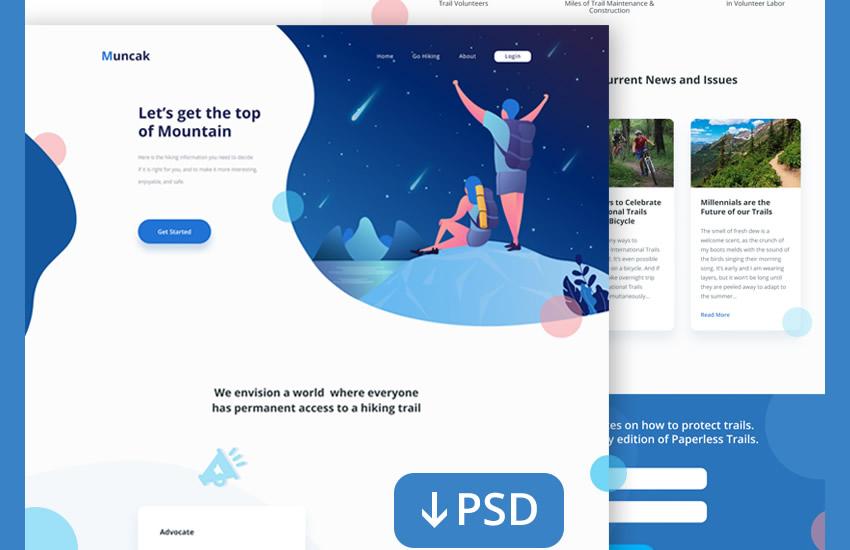 Veb səhifə Waterfront veb dizayn dizaynı Adobe Photoshop Şablon pulsuz PSD formatında