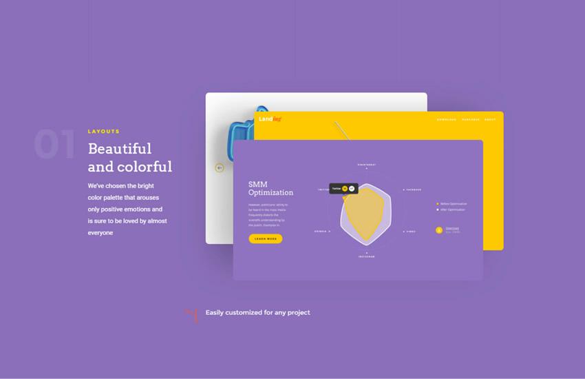 Landingpage Webdesign Adobe Photoshop Vorlage kostenlos PSD-Format