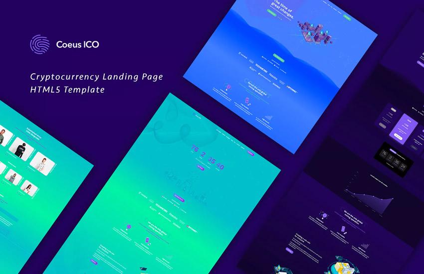 Coeus Cryptocurrency Açılış Səhifəsi HTML veb dizayn dizaynı Adobe Photoshop şablonu pulsuz PSD formatında