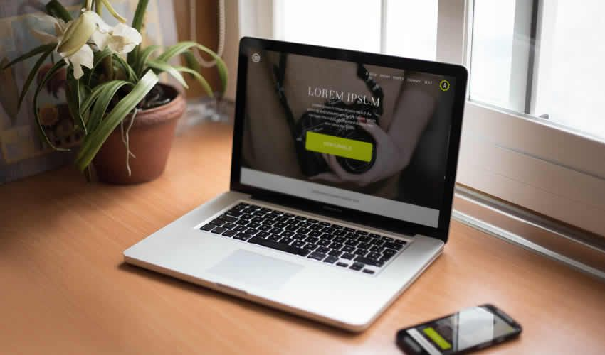 Smartphone Notebook veb səhifəsinə cavab verən maska şablonu veb dizayn redaktə ps pulsuz fotoşop