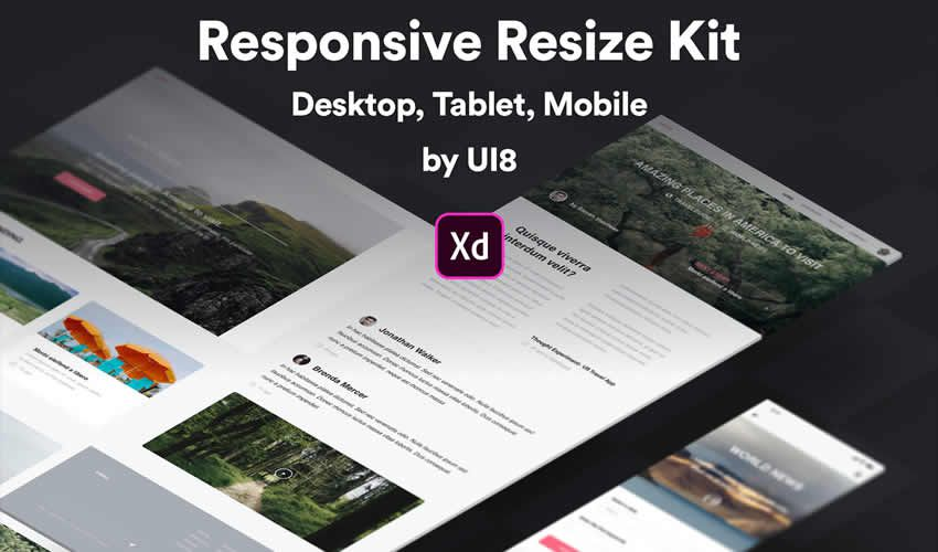Kit Adobe XD cavablandırıcı mockup şablonu veb dizaynını veb dizaynını pulsuz olaraq dəyişdirin