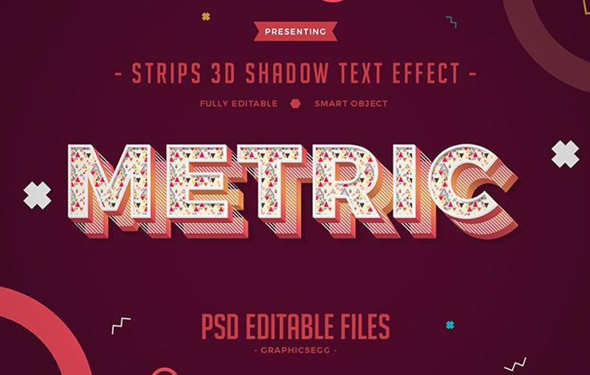 Pulsuz Photoshop Layer Effektləri PSD Şeritler 3D Kölgə Mətn Effekti
