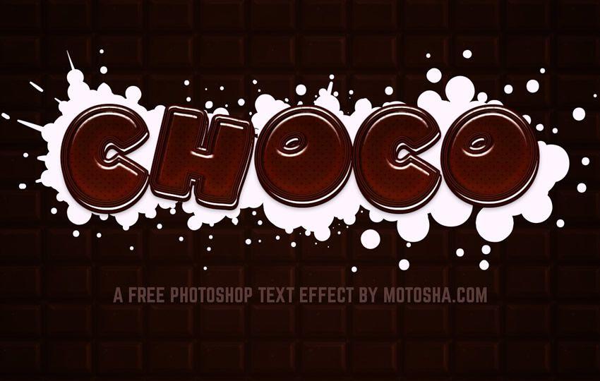 Pulsuz Photoshop Chocolate Text Effect PSD Layer Effektləri