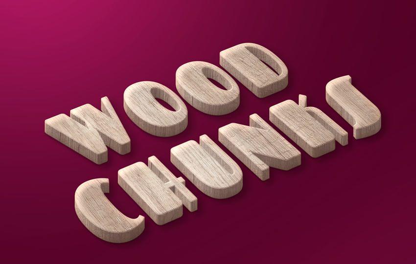 Pulsuz Photoshop Layer Wood Chunks Pulsuz Text Style PSD