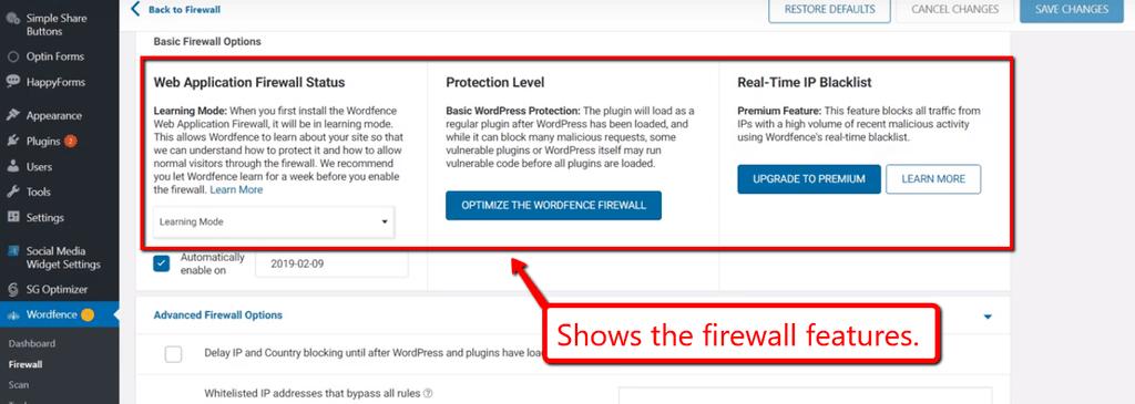 Firewall seçimləri