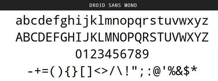 Pulsuz Droid Sans Mono Proqramlaşdırma Kod Şriftləri