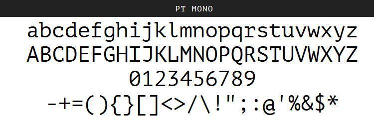 Pulsuz proqramlaşdırma kod mənbələri PT Mono Regular Bold