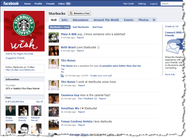 facebookda starbucks