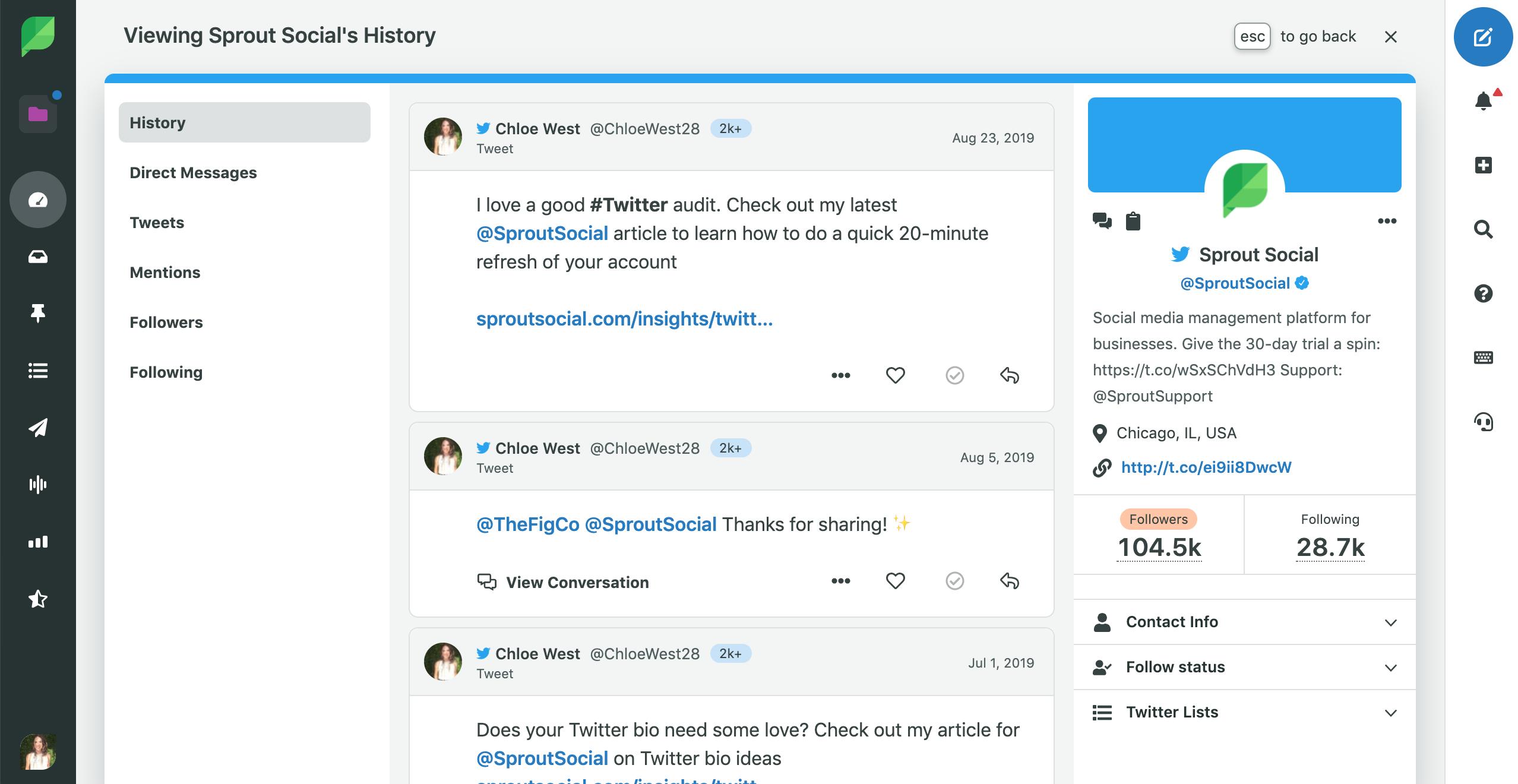 buscar el historial de twitter en Sprout