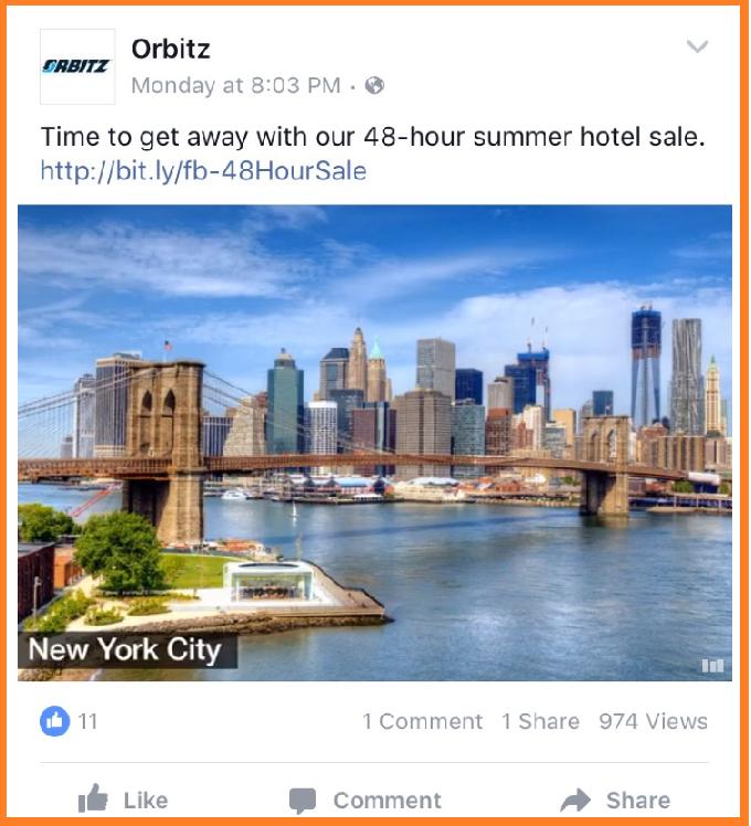 publicidad en internet orbitz en Facebook