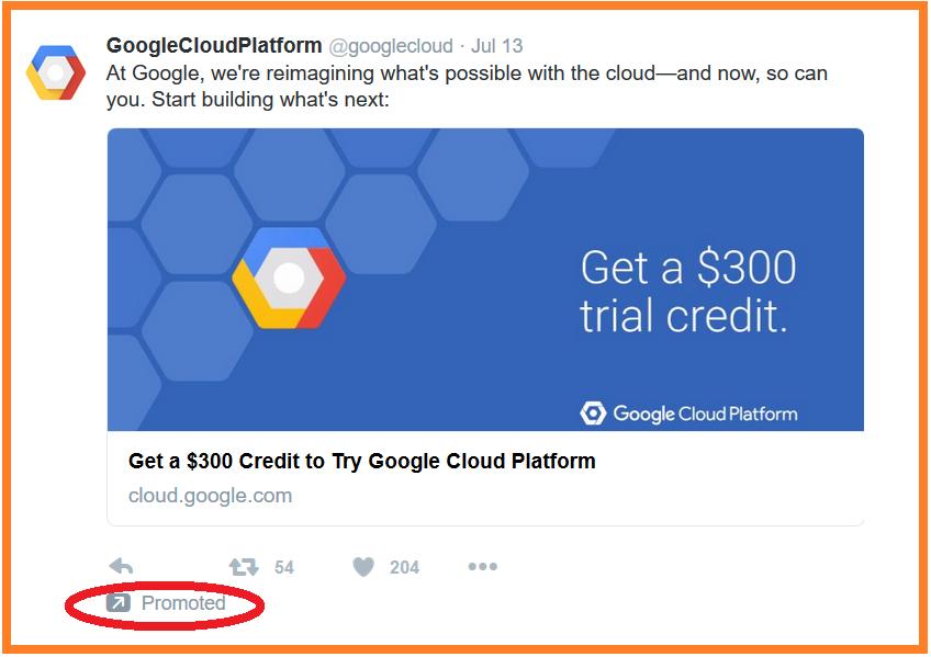 publicidad en internet Google cloud anuncio de twitter