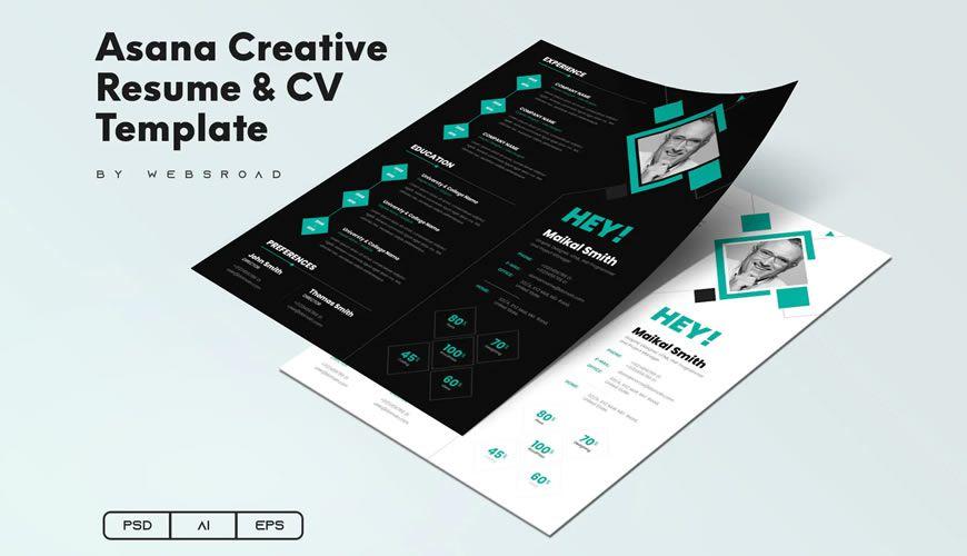 Asana Yaradıcılıq Resume CV Şablonu