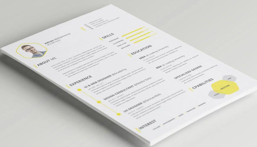 CV CV Photoshop PSD şablonu