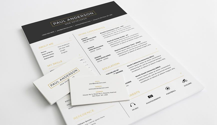 Pulsuz Resume Cover Letter Business Card Template Photoshop Photoshop PSD