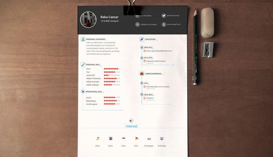 Resume / CV şablonu Photoshop Photoshop PSD