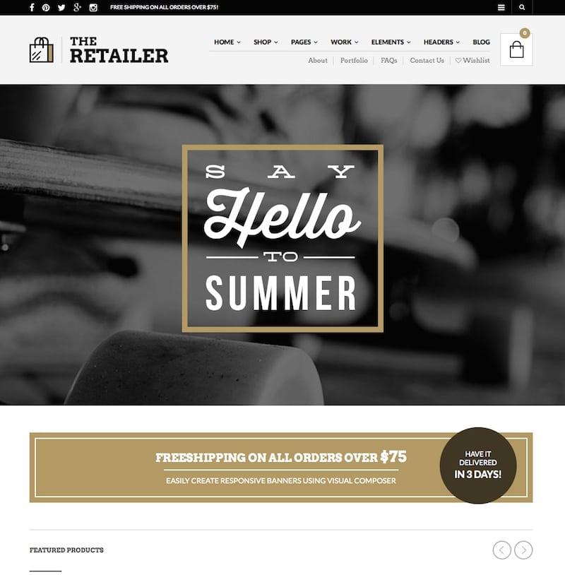 Téma WordPress pre webové stránky elektronického obchodu