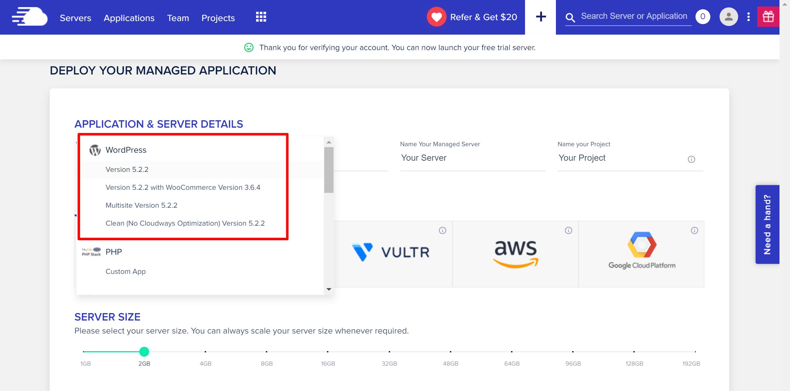 Đánh giá Cloudways chọn ứng dụng