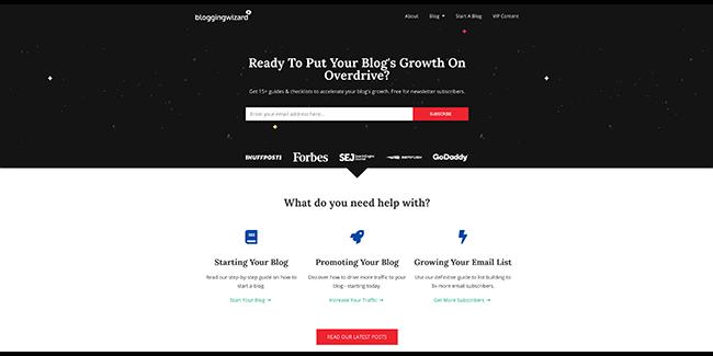Diseño del asistente de blogs en la página de inicio