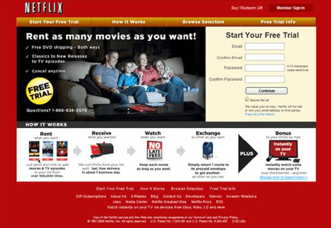 Cambia de posición de acuerdo con la antigua página de aterrizaje de Netflix