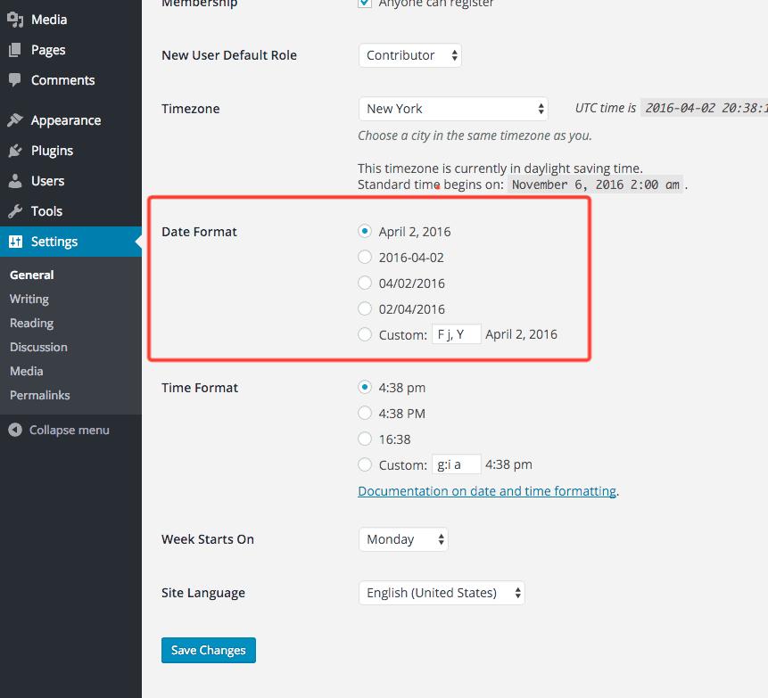 tarix formatını təyin etmək