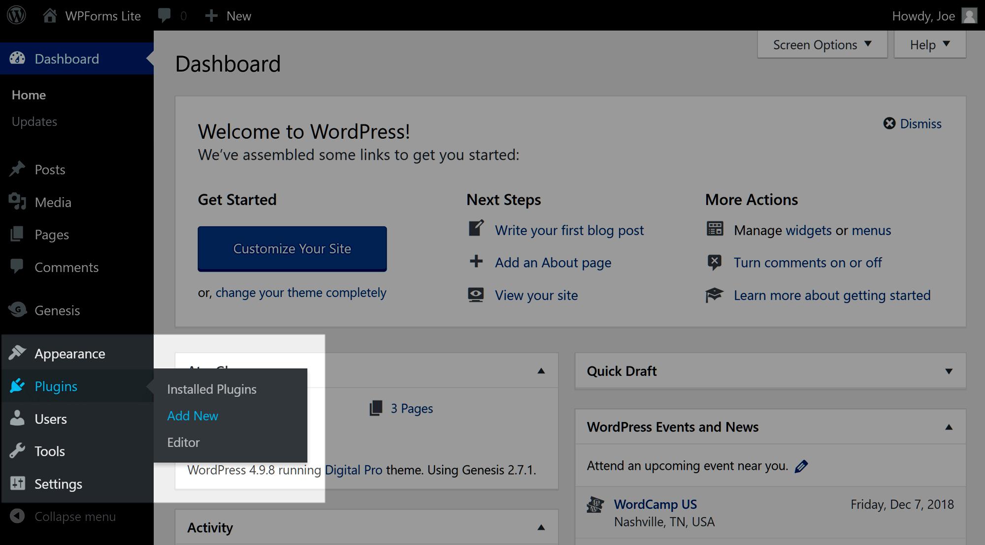 WordPress plugin menyusu