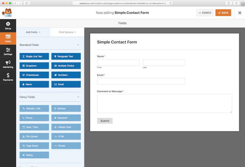 Biểu mẫu liên hệ giao diện WPForms