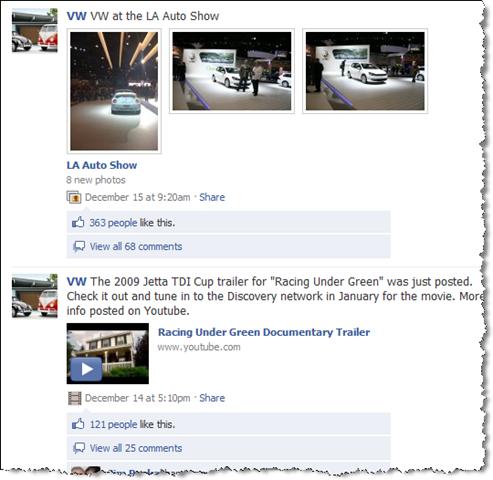 facebookda volkswagen