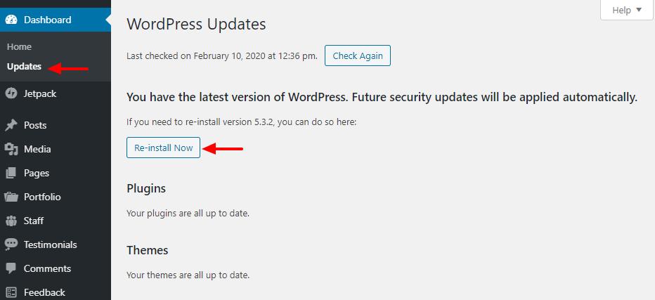 Cómo reinstalar WordPress en el panel de administración