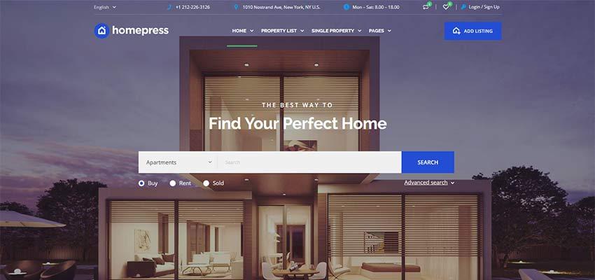 HomePress WordPress Teması ana sayfası örneği.