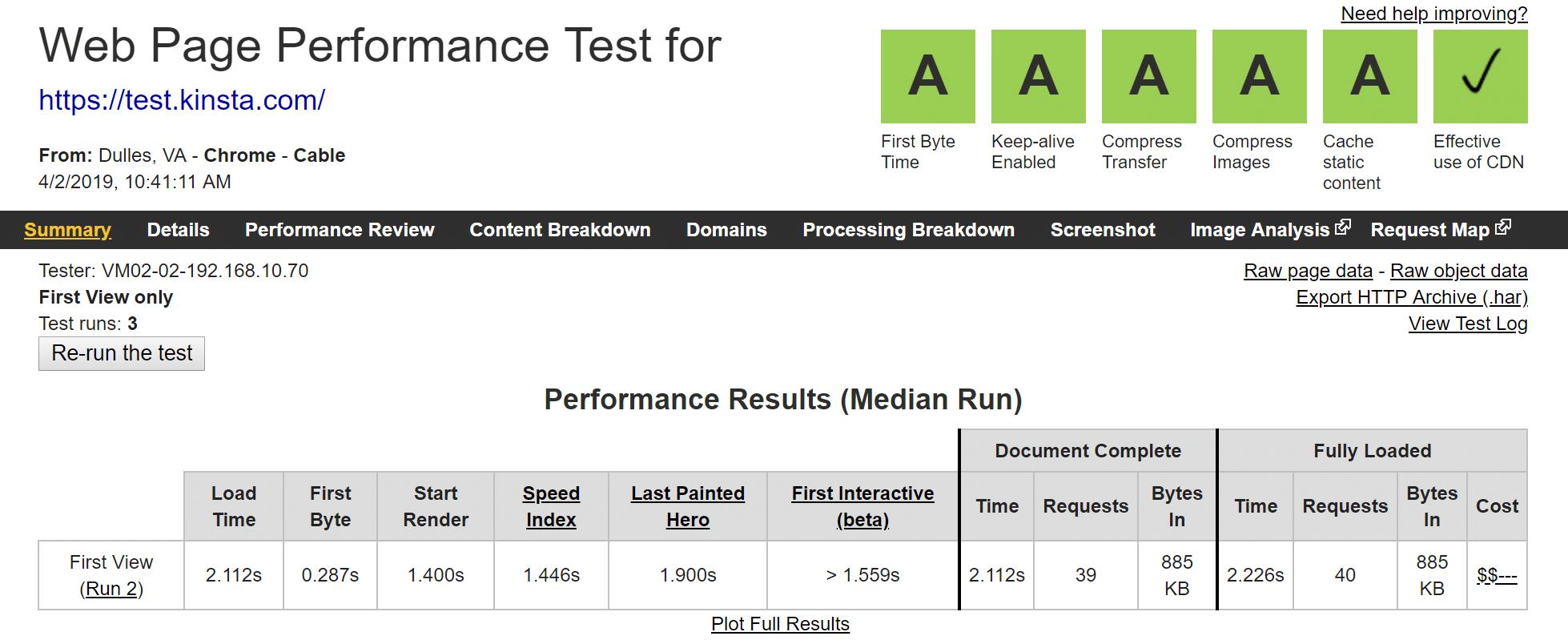 Datos de Kinsta WebPageTest