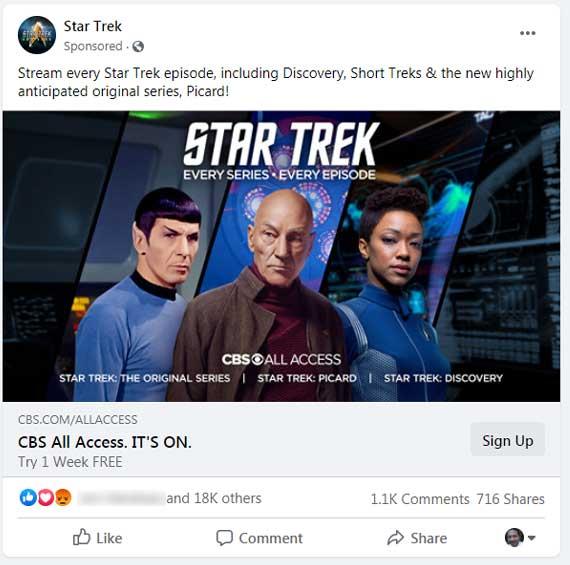 Ekran görüntüsü a Facebook reklam