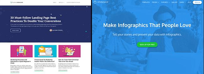 Funnel Overload y Venngage blog y comparación de sitios web