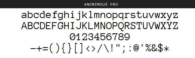 Pulsuz proqramlaşdırma kod mənbələri Anonymous Pro Regular Italic Bold