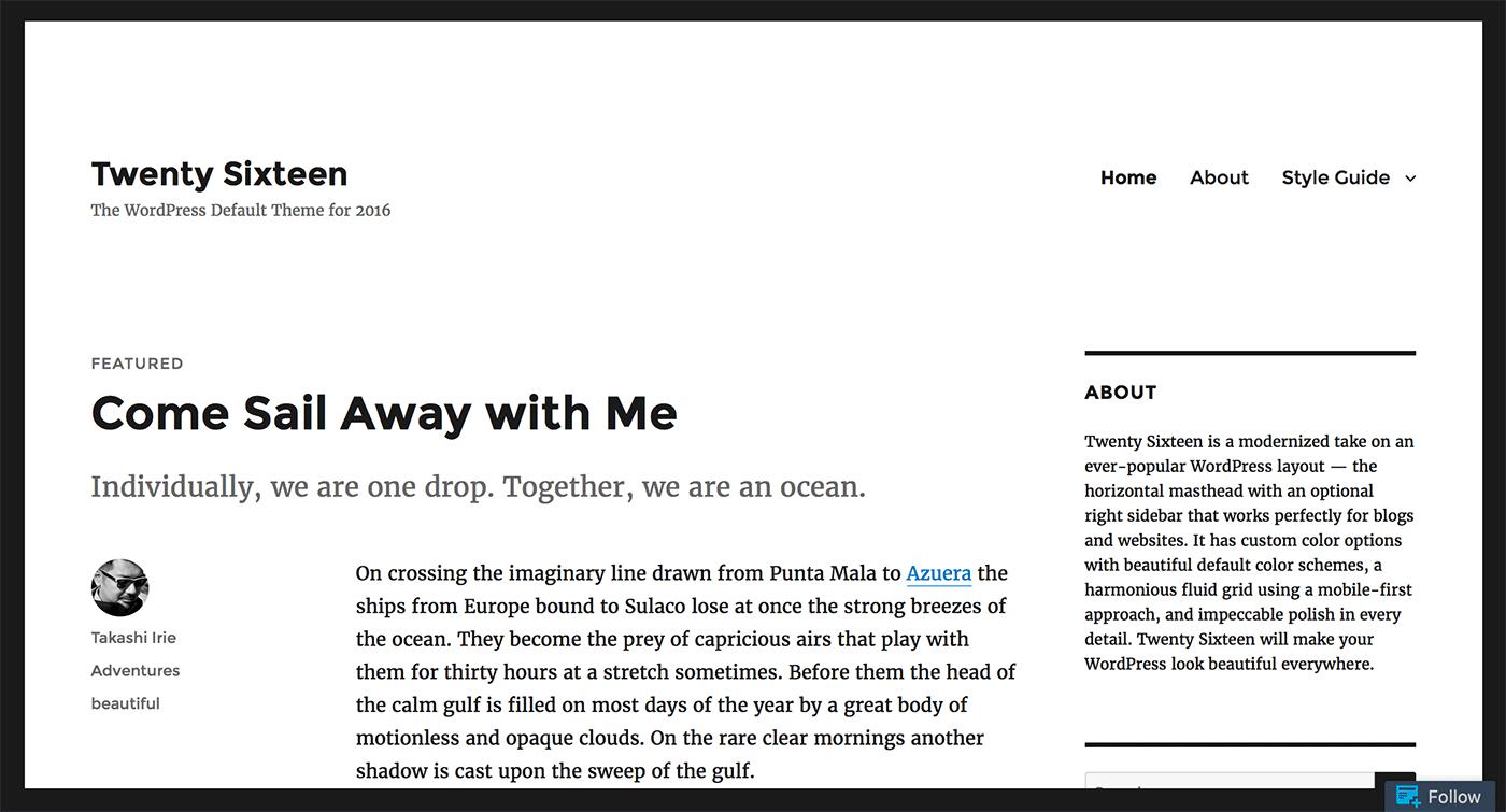 Seis temas de WordPress: captura de pantalla