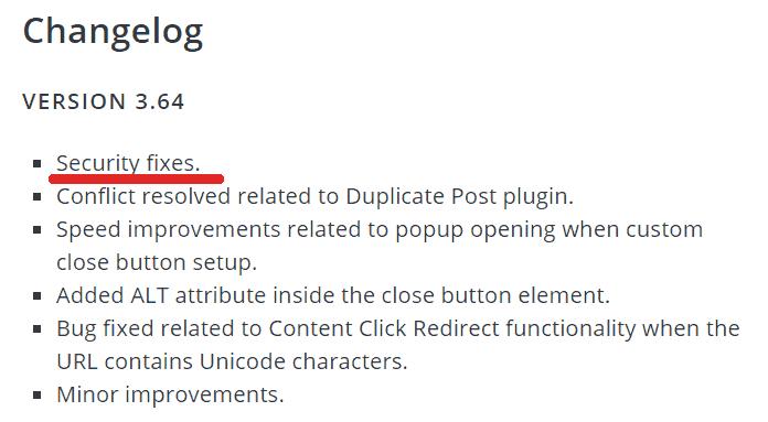 captura de pantalla del registro de cambios del complemento de WordPress Builder Builder