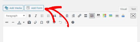 WordPress səhifə redaktorunda Form əlavə et düyməsini basın