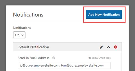 Haga clic en el botón 'Agregar nueva notificación' para crear una nueva notificación