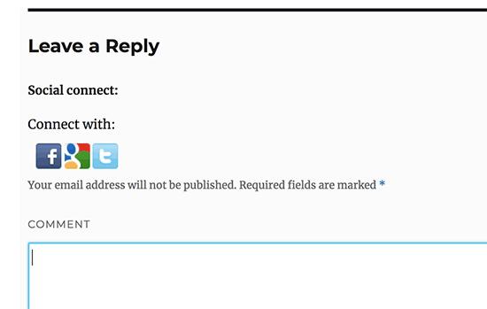 Tambahkan tombol login sosial ke formulir komentar