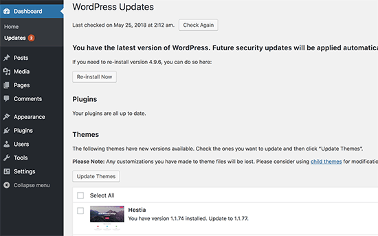 WordPress və mövzu yeniliklərini nəzərdən keçirin