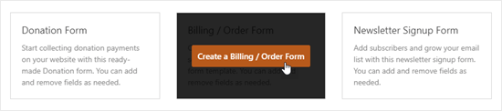 Haga clic en el botón 'Crear un formulario de facturación / pedido' para crear su formulario