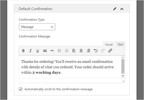 Personalizar el mensaje de confirmación que su cliente verá en su pantalla
