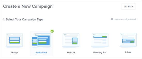 Yeni kampaniyanız üçün Tam Ekranı seçin
