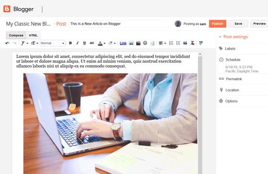 Crear un artículo en Blogger