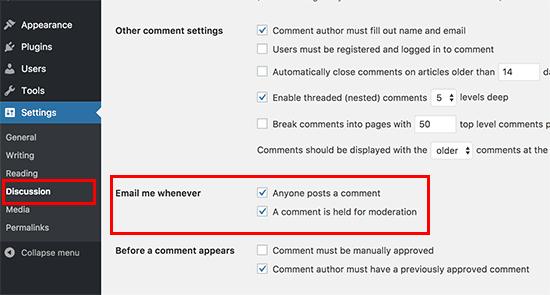 Notificaciones predeterminadas de correo electrónico de comentarios de WordPress