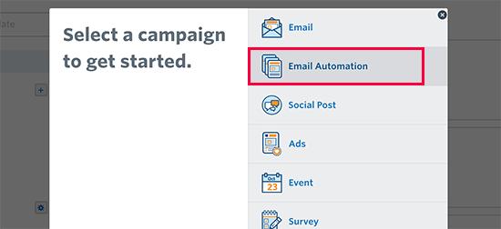 E-poçt avtomatlaşdırma kampaniyasını seçin