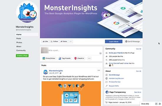 Esimerkki sivusta Facebook kansi, profiili ja jaa kuvat